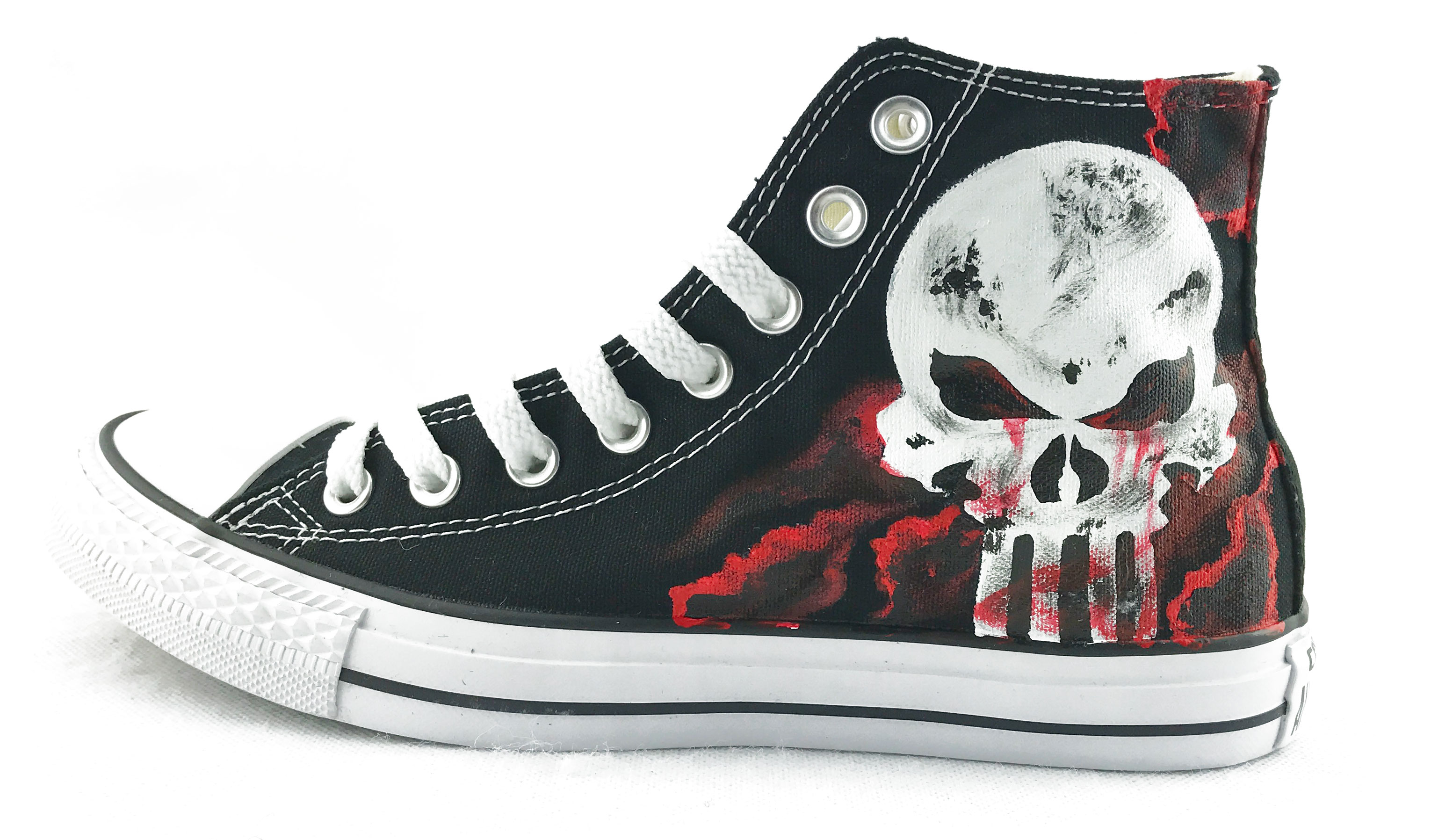 Unique Canvas Shoes The Punisher Skull Hand Painted Mens Black H-4