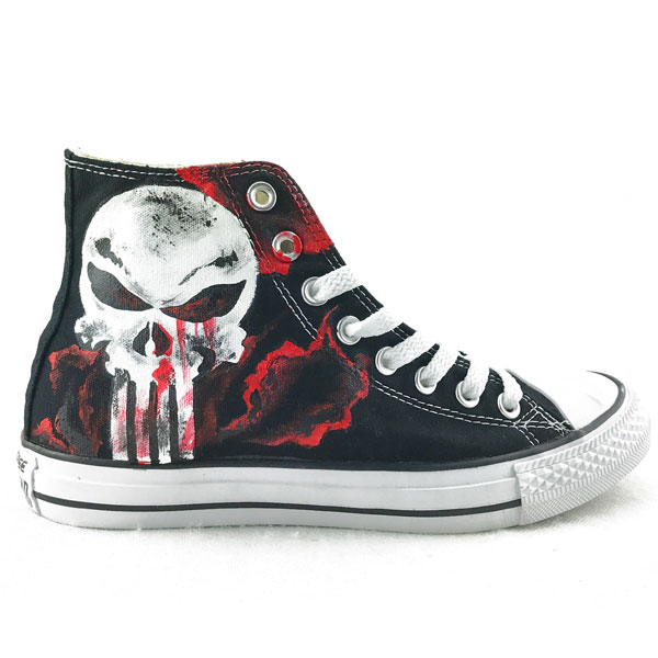 Unique Canvas Shoes The Punisher Skull Hand Painted Mens Black H