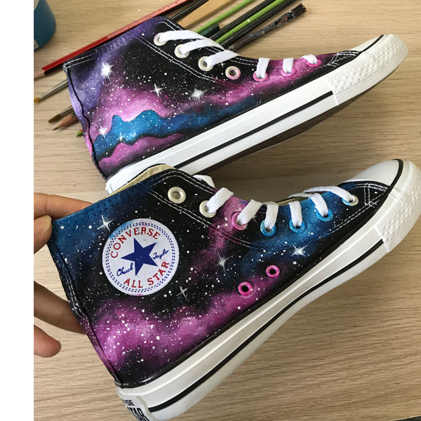 Custom Handpainted Galaxy Shoes Cutom Galaxy Shoes Galaxy Gifts