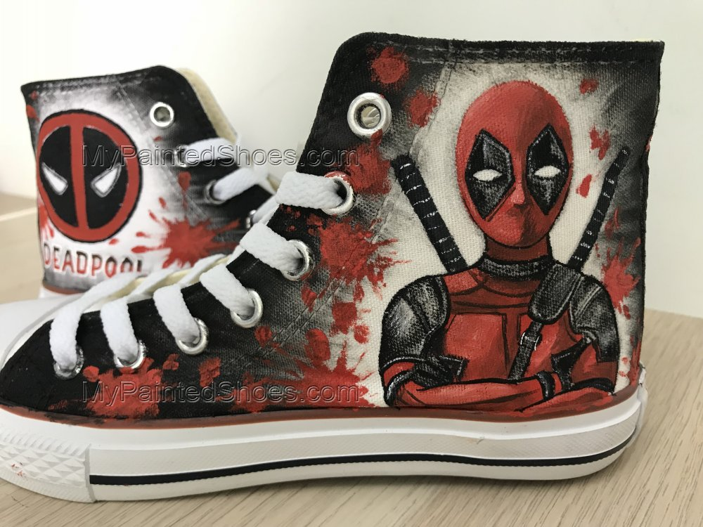 Custom Deadpool Chuck Taylors Shoes Painted Shoes Sneakers-2