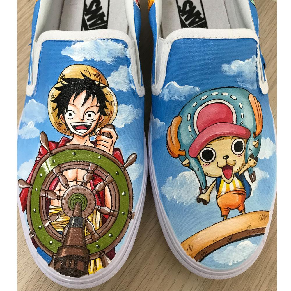 One Piece Vans Anime Vans Custom Vans Hand Painted Shoes-1
