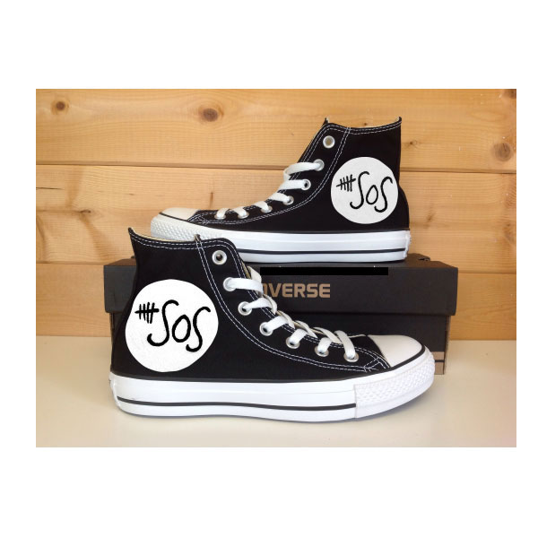 5 SOS Shoes Custom Painted Shoes Hi Sneakers Custom Chuck Taylor