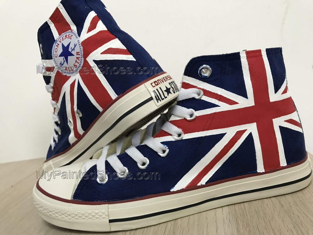 UK Flag Painted Shoes Sneakers Hi Tops Customised Shoes-4