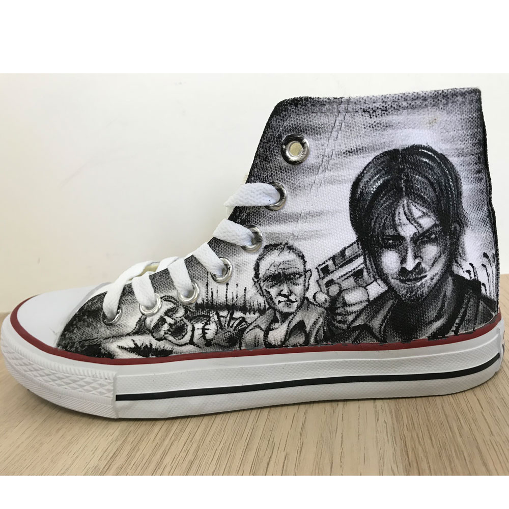 The Walking Dead Painted Shoes Chuck Taylors Sneakers Hi Tops-2