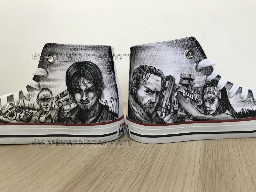 The Walking Dead Painted Shoes Chuck Taylors Sneakers Hi Tops-3