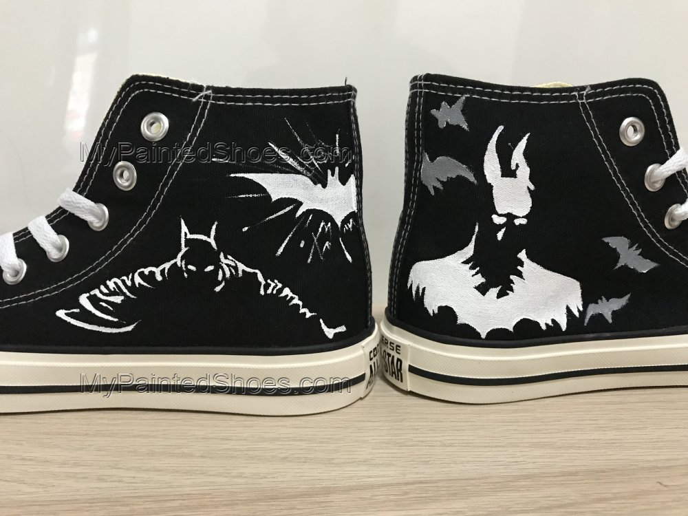 Batman Hand Painted Shoes Black Hightop Custom Shoes For Men Pai-2