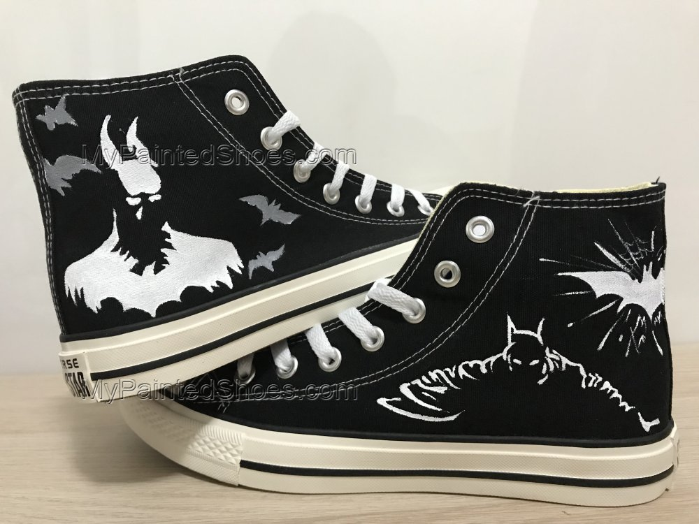 Batman Hand Painted Shoes Black Hightop Custom Shoes For Men Pai-3