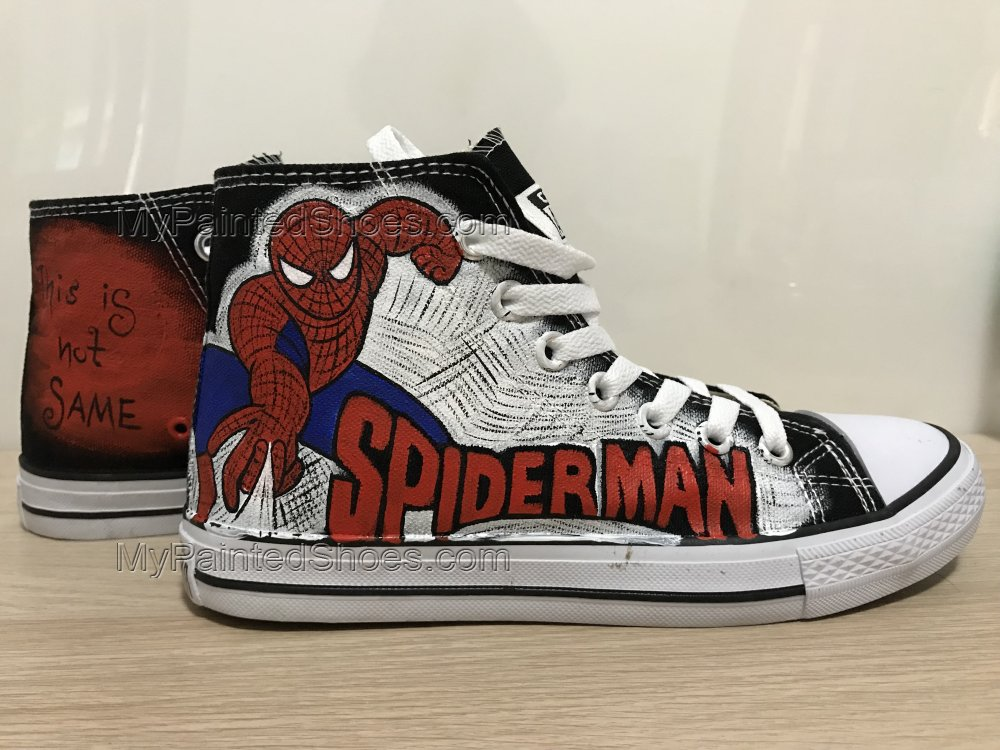 Spider Man Shoes High Top Sneakers For Women Hand Painted Shoes-1