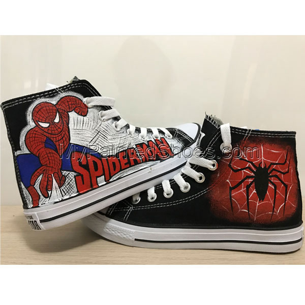 Spider Man Shoes High Top Sneakers For Women Hand Painted Shoes