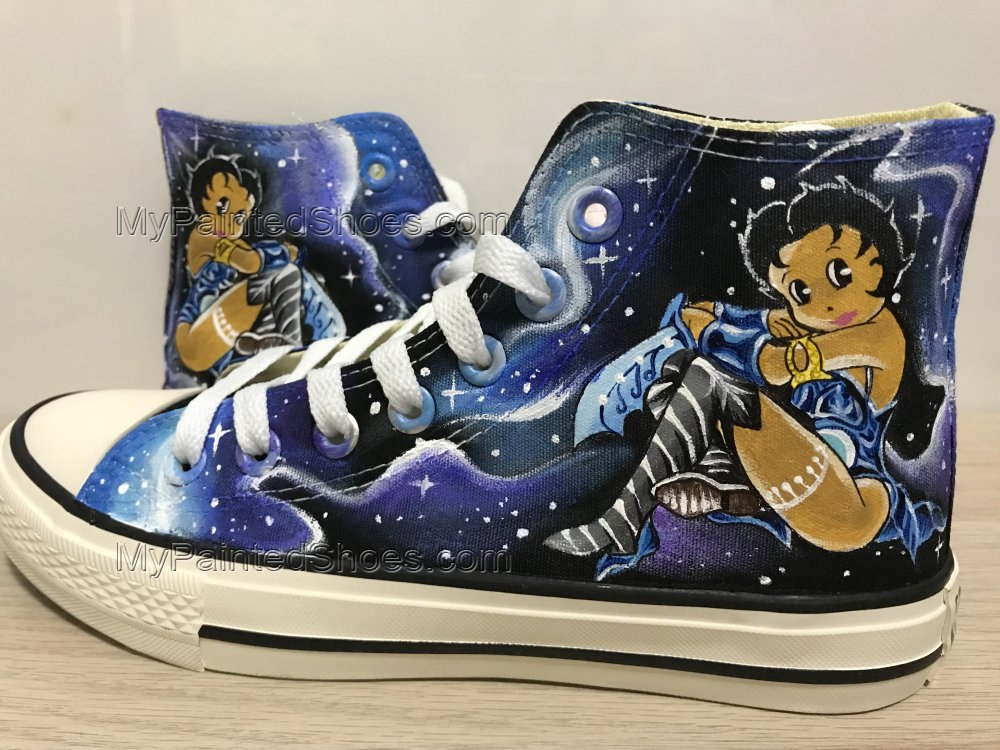 Betty Boop Galaxy Shoes Hand Painted Shoes Hi Top Shoes-1