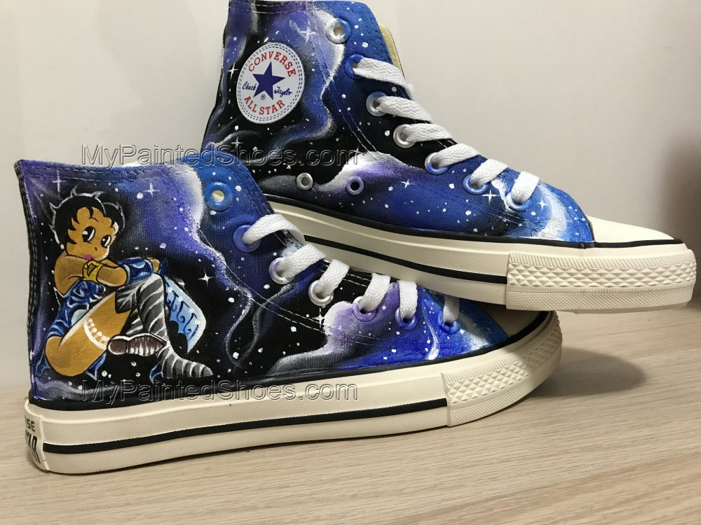 Betty Boop Galaxy Shoes Hand Painted Shoes Hi Top Shoes-4
