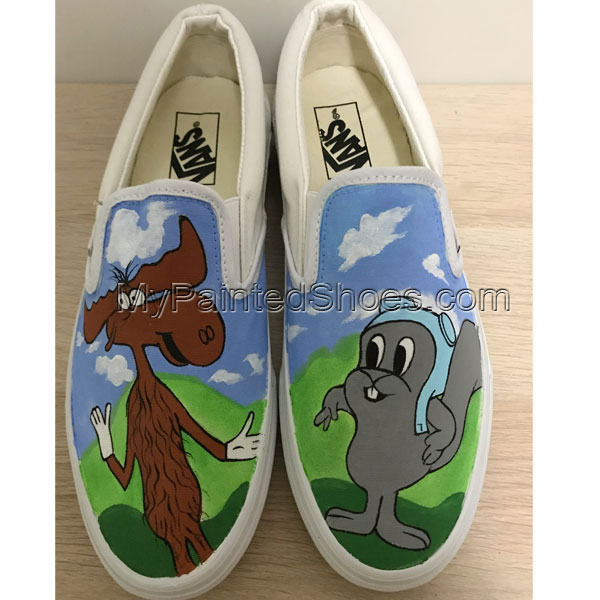 Rocky and Bullwinkle Shoes For Women Men Hand Painted Shoes