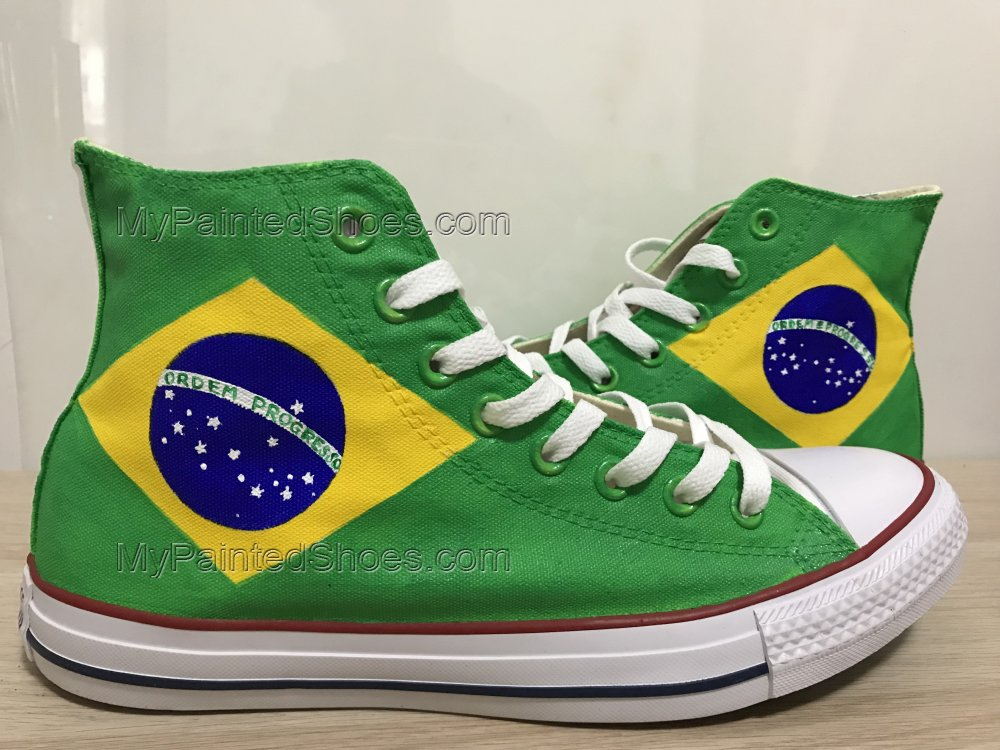 Brazilian Flag Sneakers Custom Chuck Taylors Shoes Painted Shoes-1
