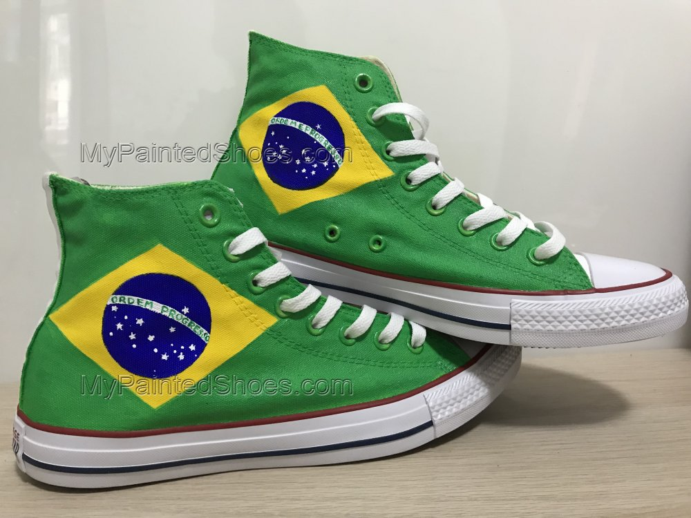 Brazilian Flag Sneakers Custom Chuck Taylors Shoes Painted Shoes-3
