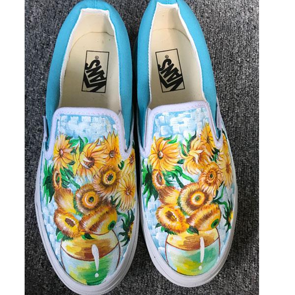 Vincent Van Gogh Sunflowers Vans Authentic Custom Shoes Vans-1