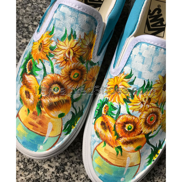 Vincent Van Gogh Sunflowers Vans Authentic Custom Shoes Vans