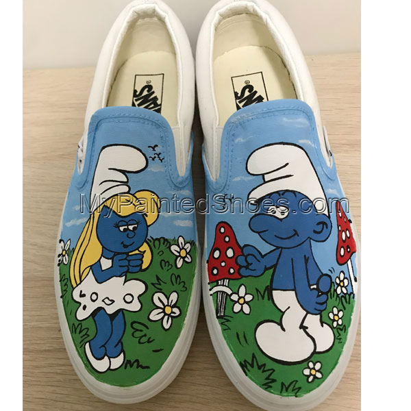 The Smurfs Vans Anime Shoes Custom Vans Shoes Custom Hand Painte