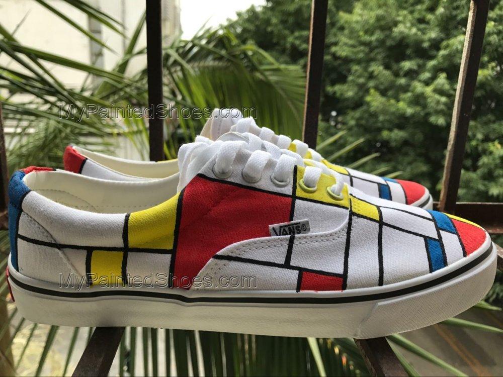 Mondrian Vans Shoes Hand Painted Mondrian Shoes Painted Shoes-3