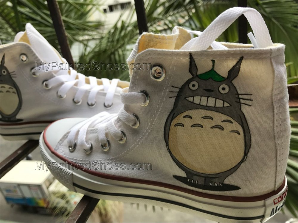 Totoro Shoes Totoro High Tops Totoro Sneakers Anime Shoes-2