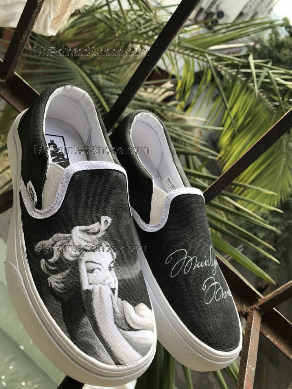 Marilyn Monroe Vans Slipon Custom Shoes Hand Painted Shoes Hand-1