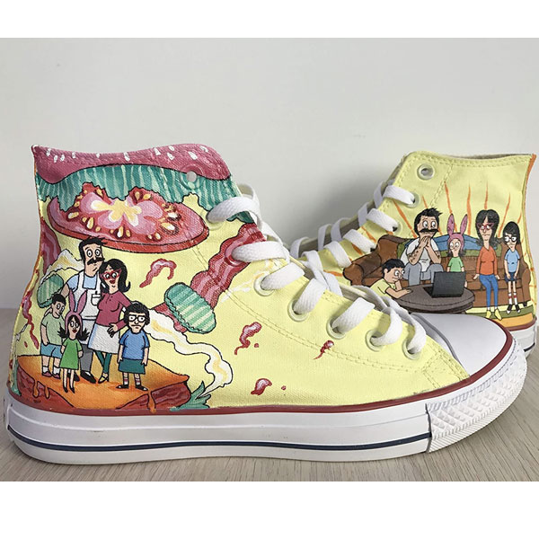 Bob's Burgers Chuck Taylors Sneakers Hi Tops Customised Shoes