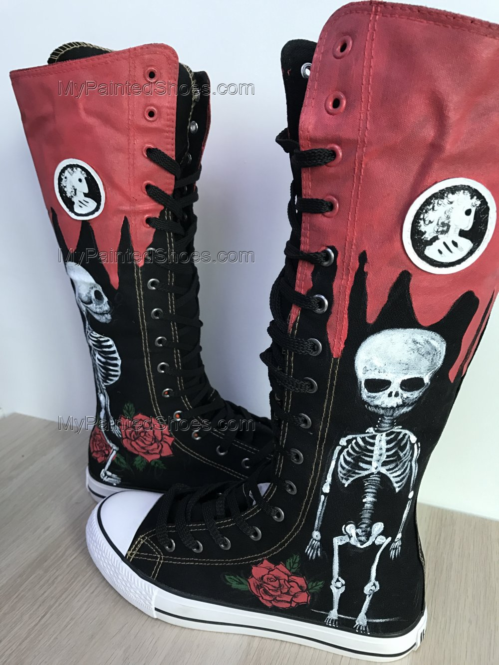 Skull Shoes Skull Boots Customised Shoes Hi Tops Shoes Custom Pa-1