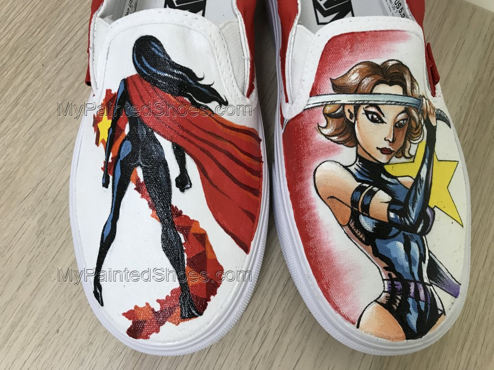 Wonder Woman Vans Slipon Shoes Hand Painted Shoes Hand Painted V-4
