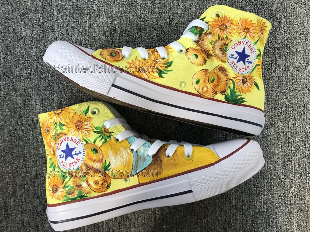 Vincent Van Gogh Sunflowers Shoes Hi Top Shoes Custom Chuck Tayl-4