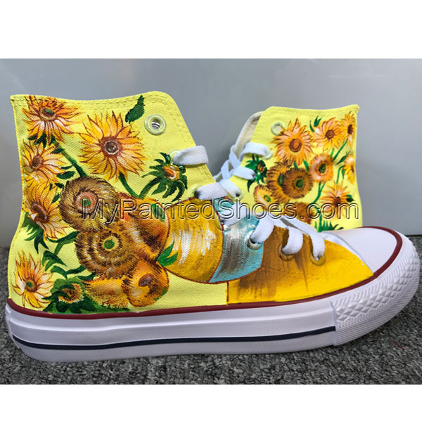 Vincent Van Gogh Sunflowers Shoes Hi Top Shoes Custom Chuck Tayl
