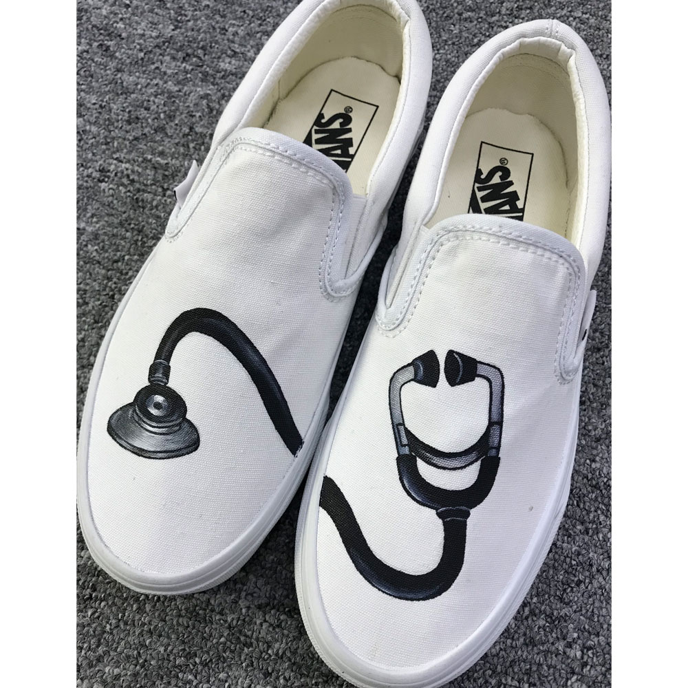 Stethoscope Vans Shoes Hand Painted Stethoscope Slip on Vans-1