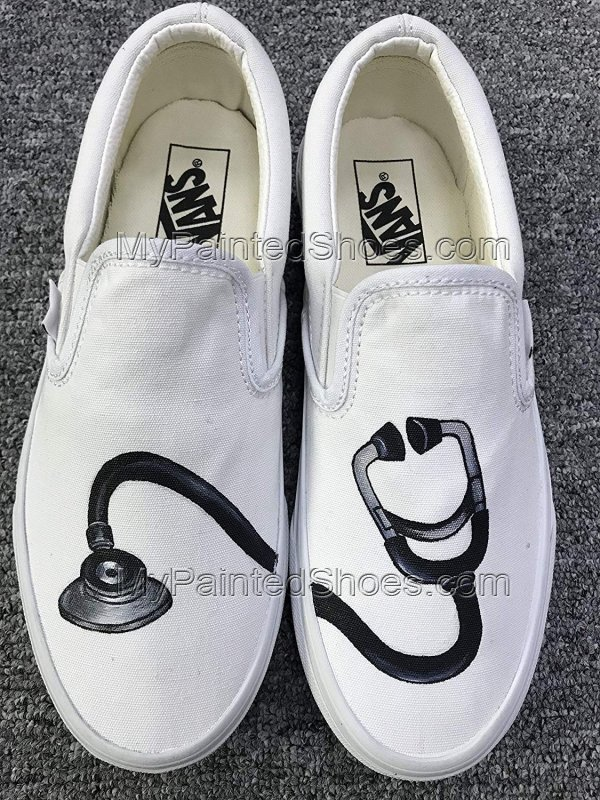 Stethoscope Vans Shoes Hand Painted Stethoscope Slip on Vans-2