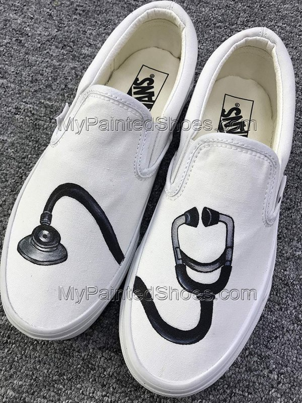 Stethoscope Vans Shoes Hand Painted Stethoscope Slip on Vans