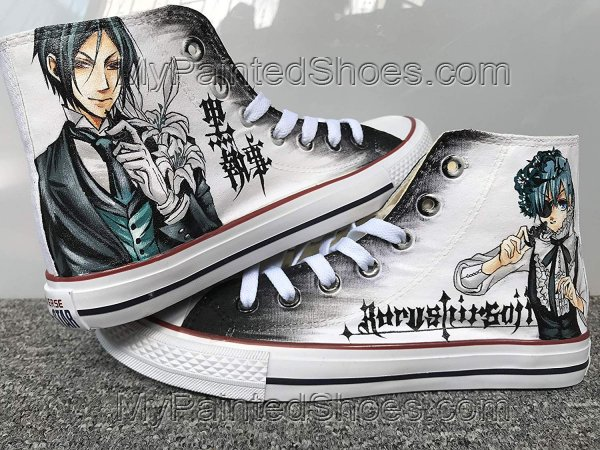 Black Butler Shoes Anime Shoes Hand Painted Shoes-3