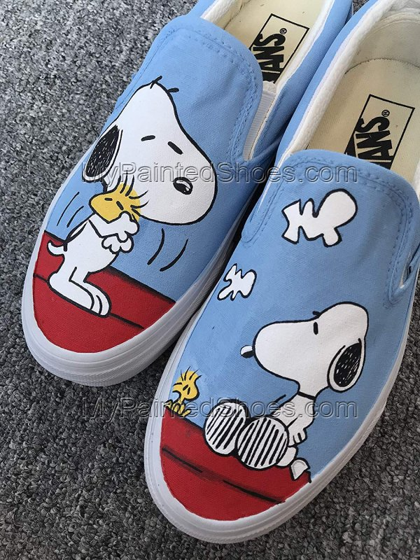 Snoopy Peanuts Vans Shoes Anime Hand Painted Shoes-2