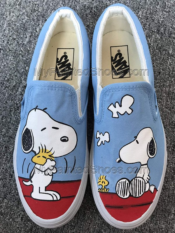 Snoopy Peanuts Vans Shoes Anime Hand Painted Shoes