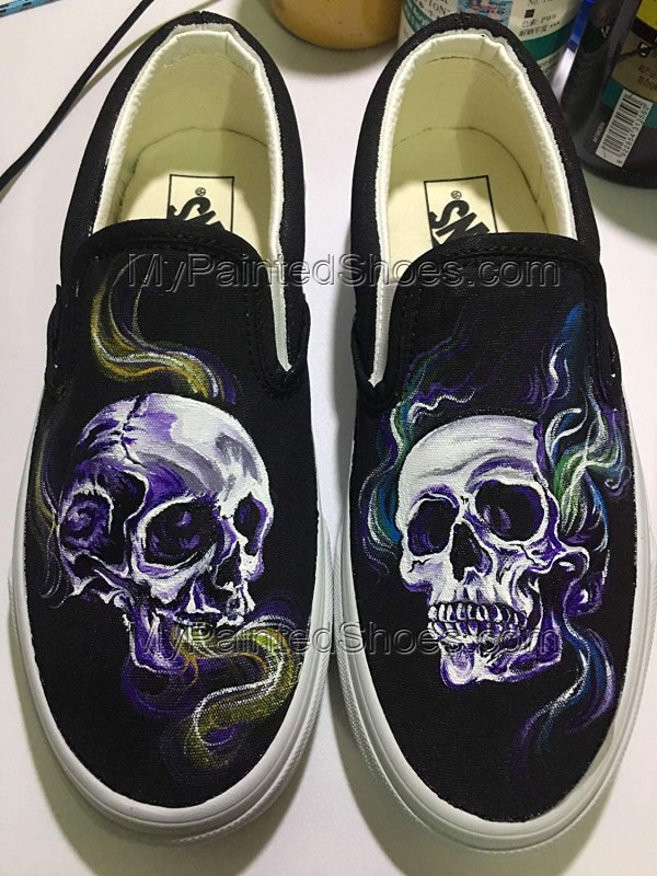 Custom Painted Skull Vans Shoes Hand Painted Skull Shoes