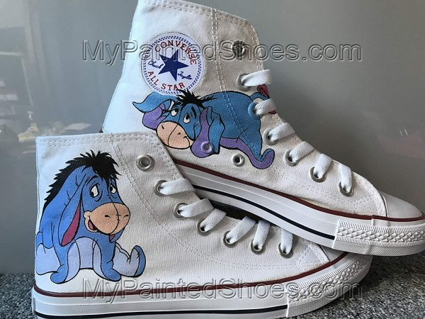 Eeyore Shoes Custom Disney Anime Shoes Hand Painted Shoes Canvas-2