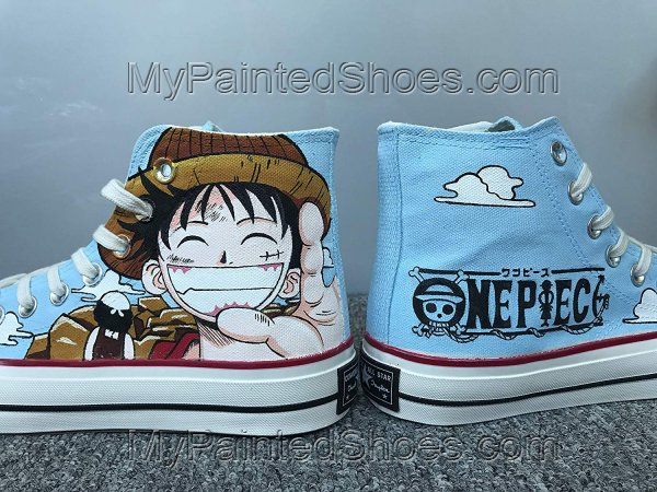 One Piece Luffy Shoes Anime Customised Shoes Hi Tops Shoes-2