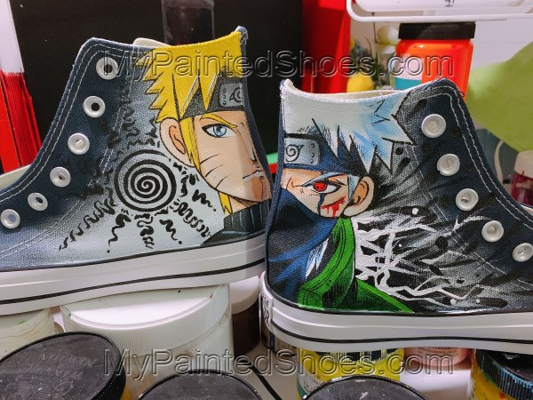 Naruto Shoes Anime Uzumaki Naruto Hatake Kakashi Painting Shoes
