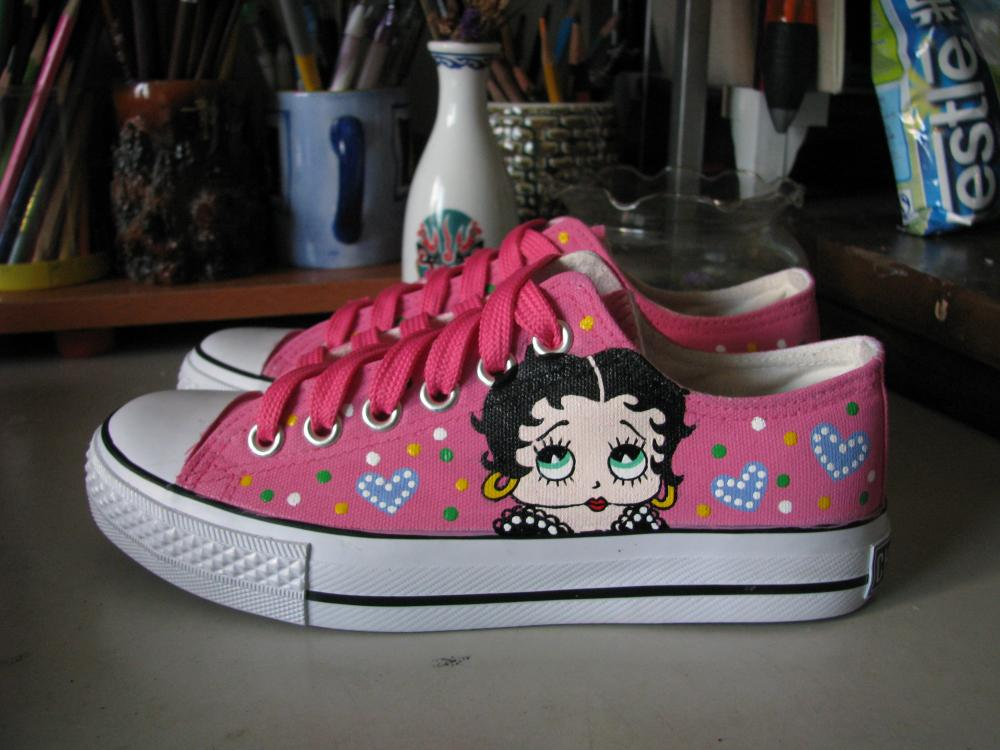 Betty Boop Sneakers Painted Canvas Shoes-1
