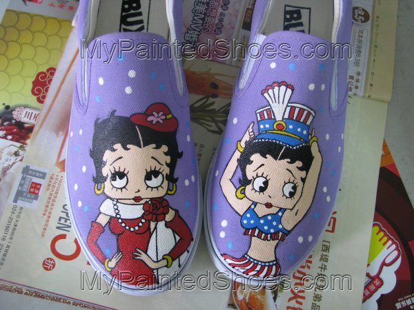 Betty Boop Anime Shoes Painted Canvas Shoes-2