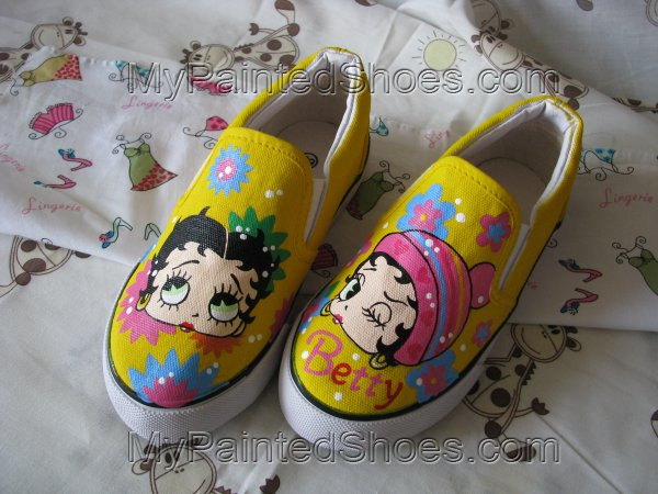 Betty Boop Women VANS Painted Canvas Shoes-1
