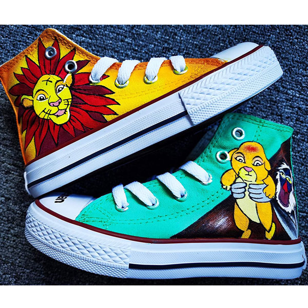 Hand Painted Shoes Design Custom Lion King Baby High Top Men Wom