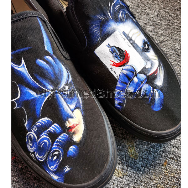 Custom Hand Drawn Batman And Joker Card Design Shoes Men Women's-2