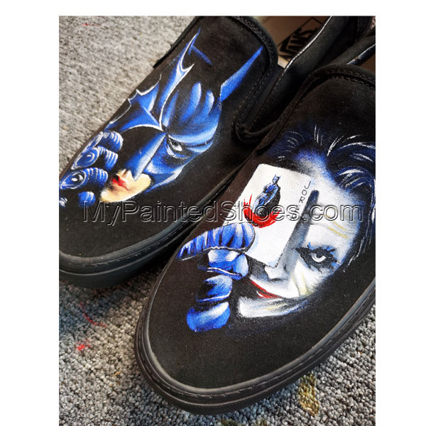 Custom Hand Drawn Batman And Joker Card Design Shoes Men Women's-3