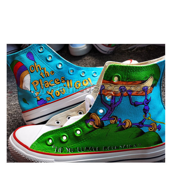 Hand Painted Shoes Design Custom Dr. Seuss High Top Men Women Ca-1