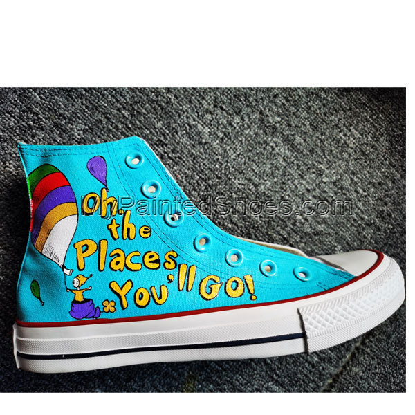 Hand Painted Shoes Design Custom Dr. Seuss High Top Men Women Ca-4