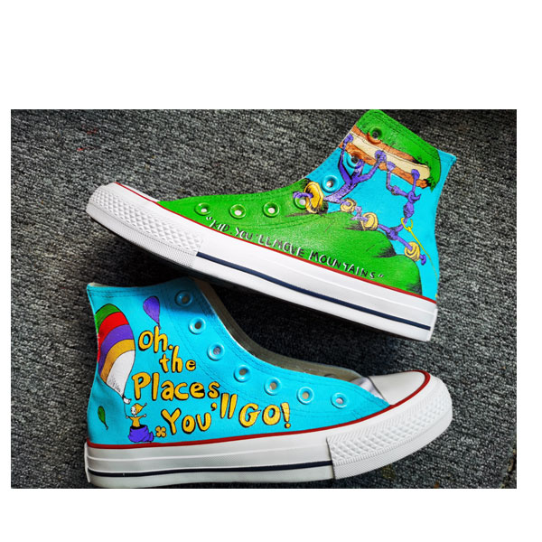 Hand Painted Shoes Design Custom Dr. Seuss High Top Men Women Ca