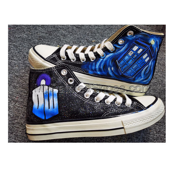 Dr. Who Hand Painted Shoes Design Custom Doctor Who Logo Tardis-2