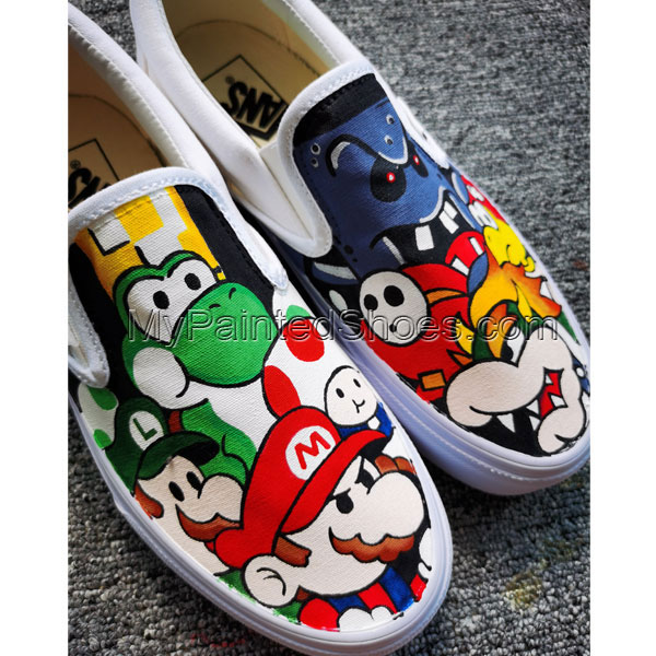 Mario Brothers Painted Canvas Sneakers Hand Painted Shoes Custom-1
